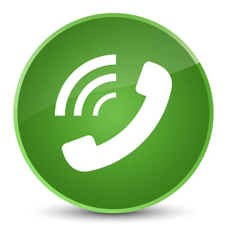 Phone ringing icon isolated on elegant soft green round button abstract illustration Stock Photo