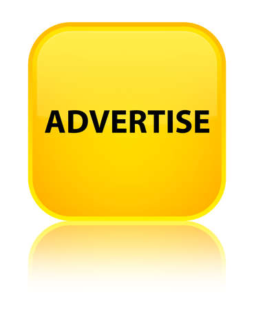 Advertise isolated on special yellow square button reflected abstract illustration