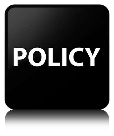 Policy isolated on black square button reflected abstract illustration Banco de Imagens