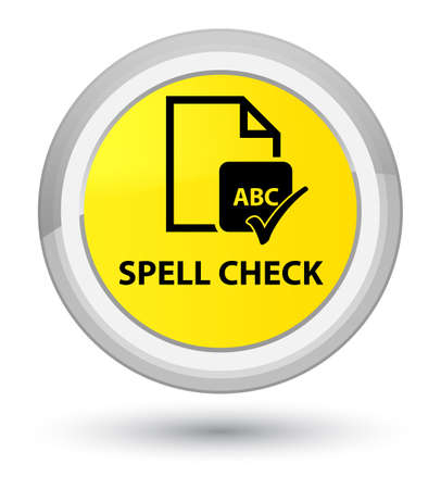 Spell check document isolated on prime yellow round button abstract illustration