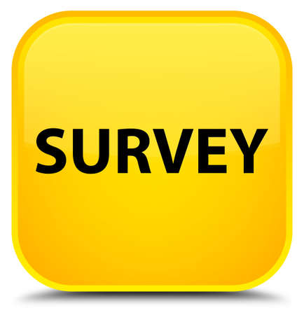 Survey isolated on special yellow square button abstract illustration Stock Photo