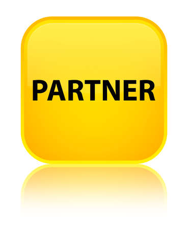 Partner isolated on special yellow square button reflected abstract illustration