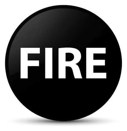 Fire isolated on black round button abstract illustration