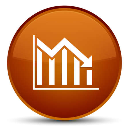 Statistics down icon isolated on special brown round button abstract illustration