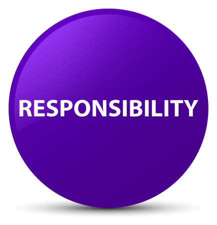 Responsibility isolated on purple round button abstract illustration Stock Photo