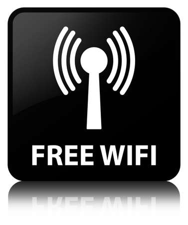 Free wifi (wlan network) isolated on black square button reflected abstract illustration