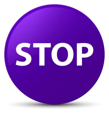 Stop isolated on purple round button abstract illustration Stock Photo