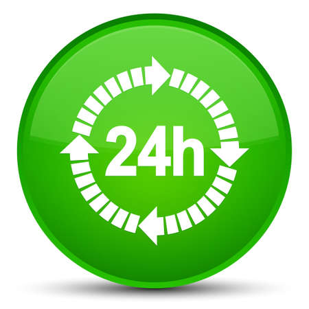 24 hours delivery icon isolated on special green round button abstract illustration