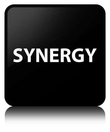 De synergisme op zwarte vierkante knoop wordt geïsoleerd wees op abstracte illustratie die