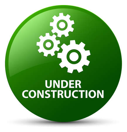 Under construction (gears icon) isolated on green round button abstract illustration Stock Photo