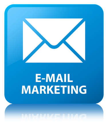 E-mail marketing isolated on cyan blue square button reflected abstract illustration Stock Photo