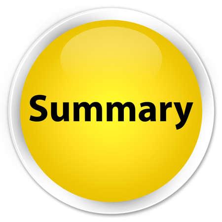 Summary isolated on premium yellow round button abstract illustration
