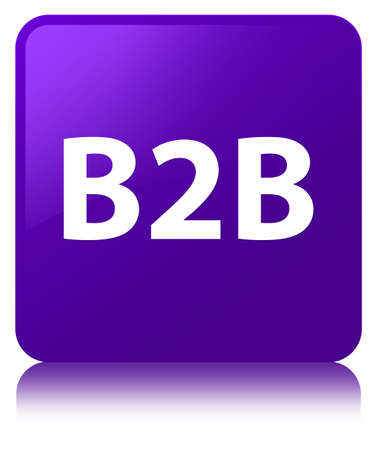B2b isolated on purple square button reflected abstract illustration