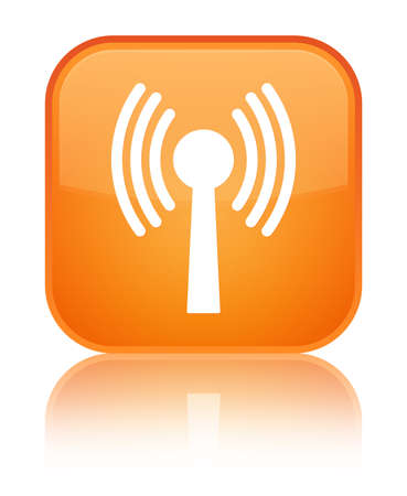 Wlan network icon isolated on special orange square button reflected abstract illustration Stock Photo