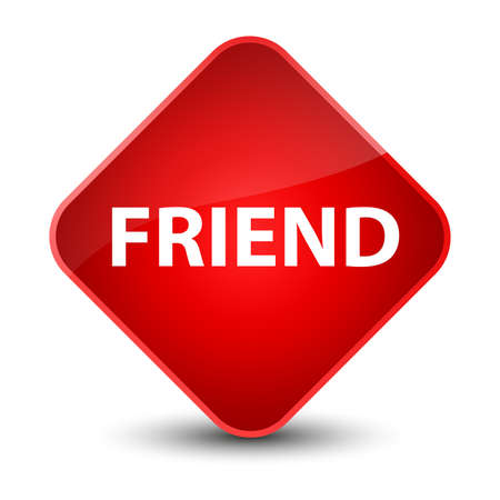 Friend isolated on elegant red diamond button abstract illustration
