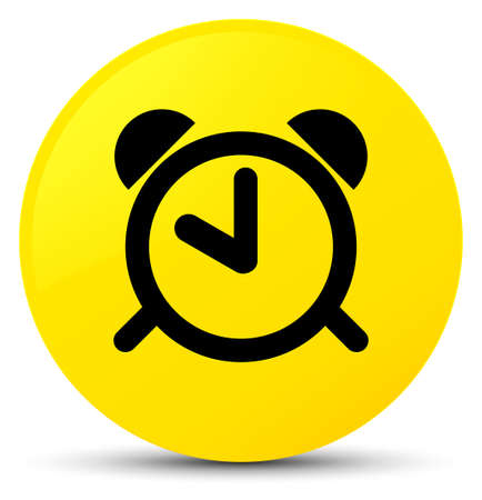 Alarm clock icon isolated on yellow round button abstract illustration