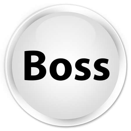 Boss isolated on premium white round button abstract illustration Фото со стока