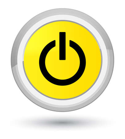 Power icon isolated on prime yellow round button abstract illustration Stock Photo