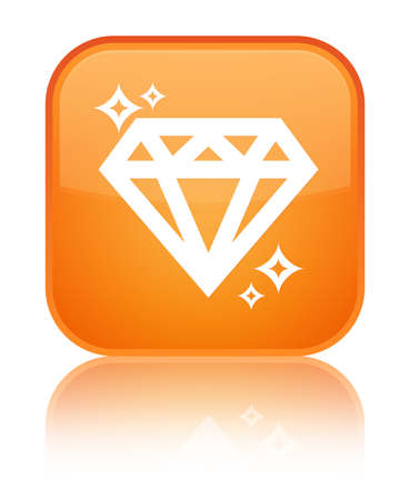 Diamond icon isolated on special orange square button reflected abstract illustration