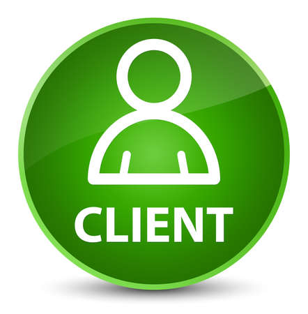 Client (member icon) isolated on elegant green round button abstract illustration