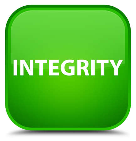 Integrity isolated on special green square button abstract illustration Stock Photo