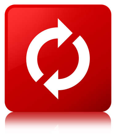Update icon isolated on red square button reflected abstract illustration