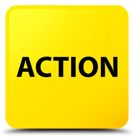 Action isolated on yellow square button abstract illustration