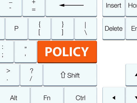 Policy isolated on orange keyboard button abstract illustration