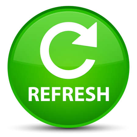 Refresh (rotate arrow icon) isolated on special green round button abstract illustration Stock Photo