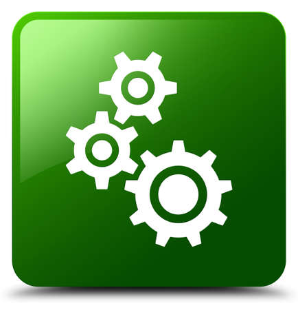 Gears icon isolated on green square button abstract illustration Stock Photo