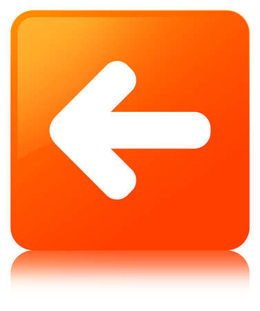 Back arrow icon isolated on orange square button reflected abstract illustration