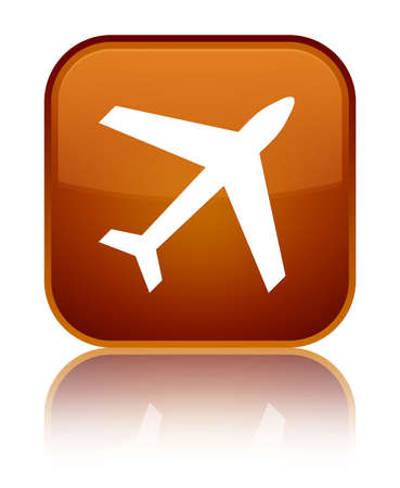 Plane icon isolated on special brown square button reflected abstract illustration