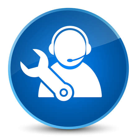 Tech support icon isolated on elegant blue round button abstract illustration Stock Photo