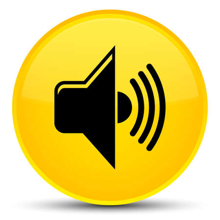 Volume icon isolated on special yellow round button abstract illustration