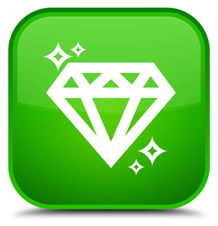 crystal button: Diamond icon isolated on special green square button abstract illustration Stock Photo