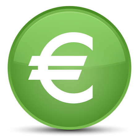 Euro sign icon isolated on special soft green round button abstract illustration