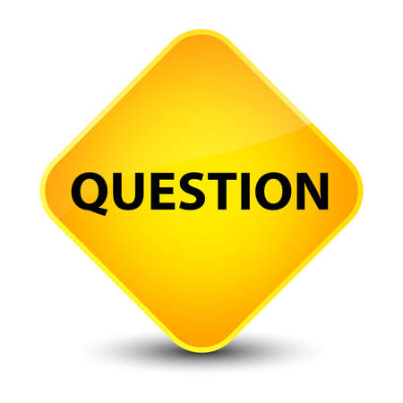 inquiry: Question isolated on elegant yellow diamond button abstract illustration