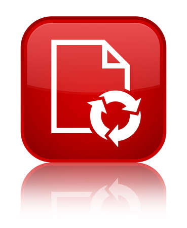 Document process icon isolated on special red square button reflected abstract illustration Stock Photo