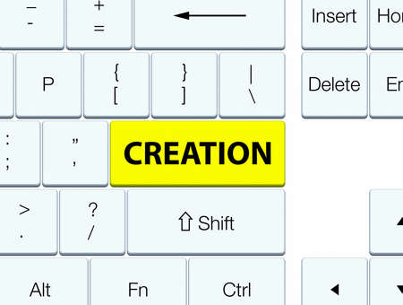 Creation isolated on yellow keyboard button abstract illustration