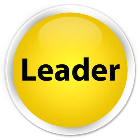 Leader isolated on premium yellow round button abstract illustration Stock Photo