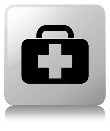 Medical bag icon isolated on white square button reflected abstract illustration 版權商用圖片