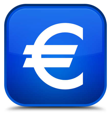 Euro sign icon isolated on special blue square button abstract illustration Stock Photo