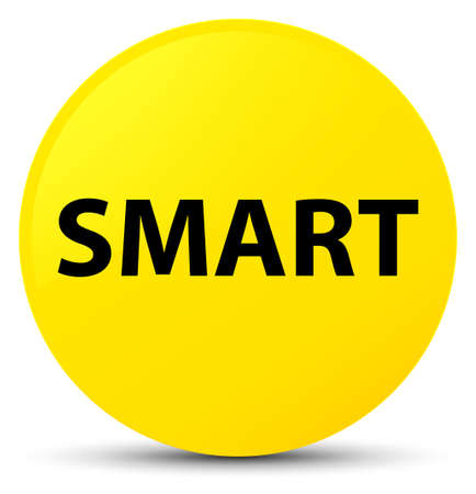 Smart isolated on yellow round button abstract illustration Stock Photo