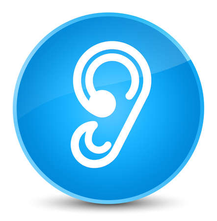 Ear icon isolated on elegant cyan blue round button abstract illustration Stock Photo