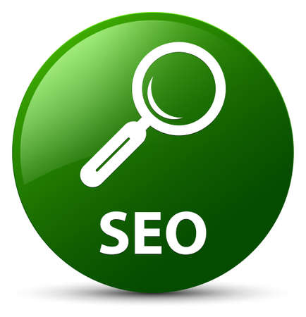 Seo isolated on green round button abstract illustration