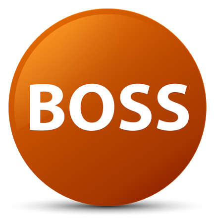 Boss isolated on brown round button abstract illustration