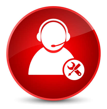 Tech support icon isolated on elegant red round button abstract illustration