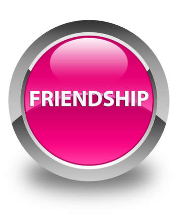 Friendship isolated on glossy pink round button abstract illustration Reklamní fotografie