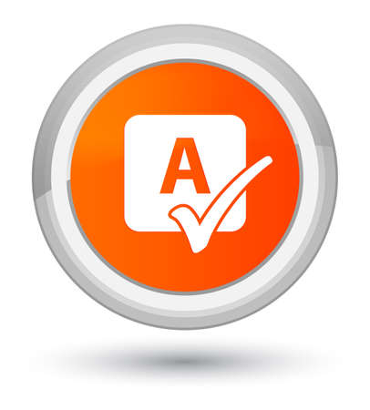Spell check icon isolated on prime orange round button abstract illustration
