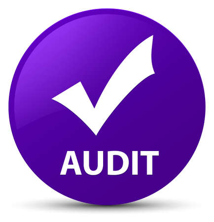 Audit (validate icon) isolated on purple round button abstract illustration